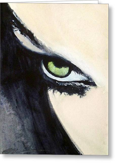 Greeting Card featuring the painting Magyar Eyes by Ed  Heaton