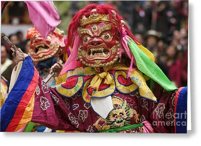 Mahankala Dancer - Katok Monastery Kham Greeting Card by Craig Lovell