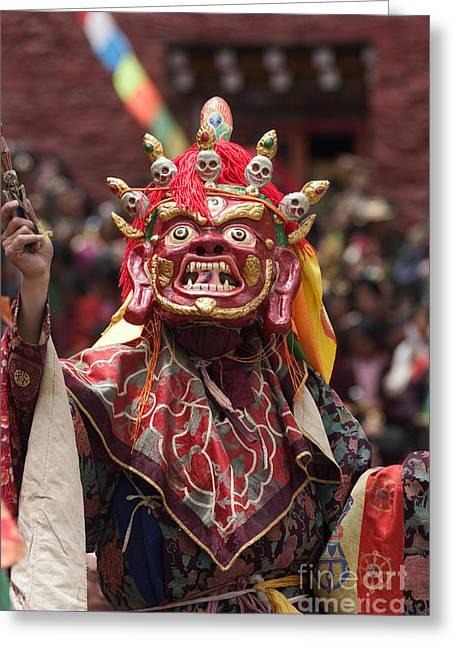 Mahankala Masked Dancer - Katak Cham Dances Kham Greeting Card by Craig Lovell