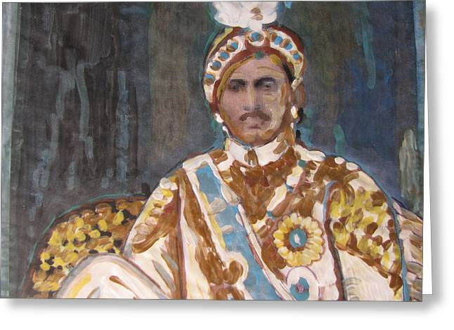 Greeting Card featuring the painting Maharaja Jai Singh by Vikram Singh