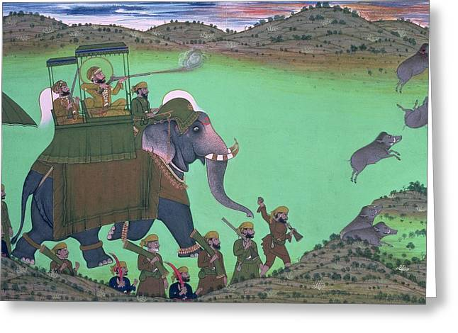 Maharana Sarup Singh Of Udaipur Shooting Boar From Elephant-back, Rajasthan, 1855  Greeting Card by Indian School