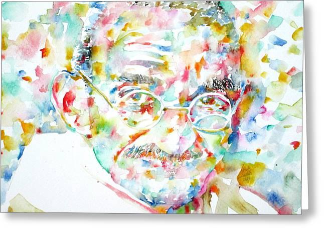 Mahatma Gandhi Watercolor Portrait.1 Greeting Card