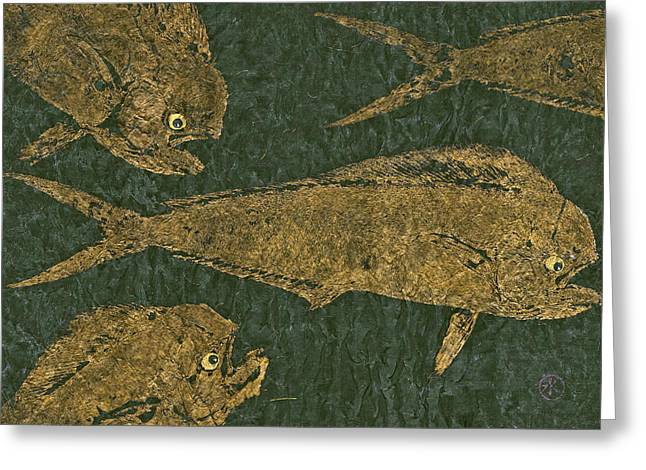 Mahi Mahi On Black W/ Gold Thread Unryu Paper Greeting Card