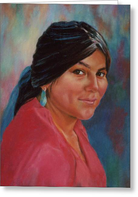 Greeting Card featuring the painting Maiden From Jemez Pueblo by Ann Peck
