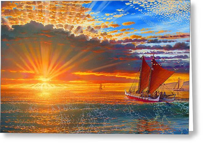 Maiden Voyage Of The Mo'okiha O Pi'ilani Greeting Card by Loren Adams