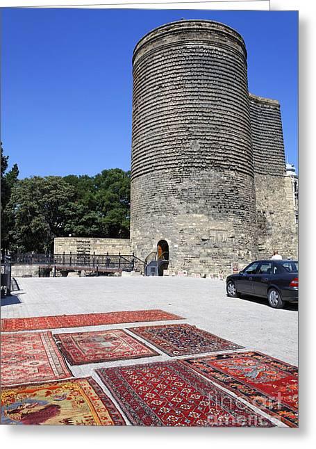 Maidens Tower In Baku Old Town Azerbaijan Greeting Card by Robert Preston