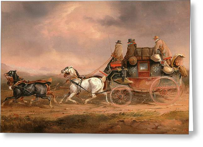 Mail Coaches On The Road The Louth-london Royal Mail Greeting Card