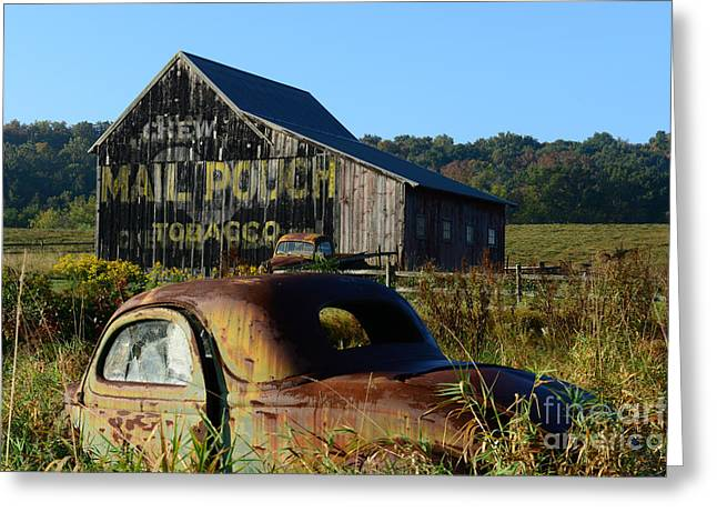 Mail Pouch Barn And Old Cars Greeting Card by Paul Ward