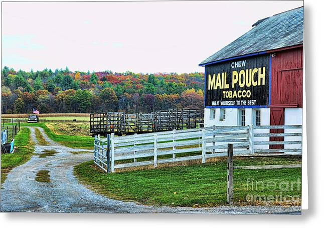 Mail Pouch Tobacco Barn In The Fall Greeting Card by Paul Ward