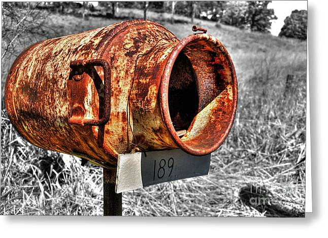 Mailbox With Character Greeting Card by Kaye Menner