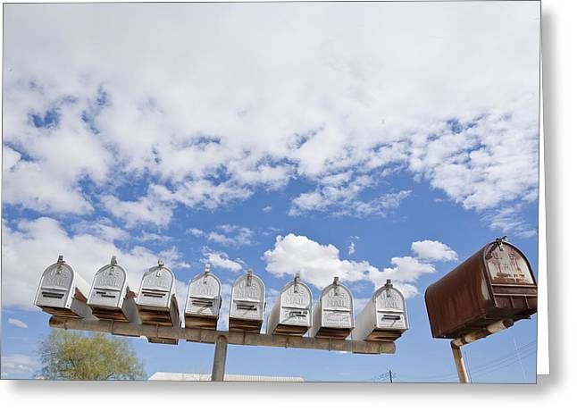 Mailboxes Against Sky Greeting Card by David Litschel
