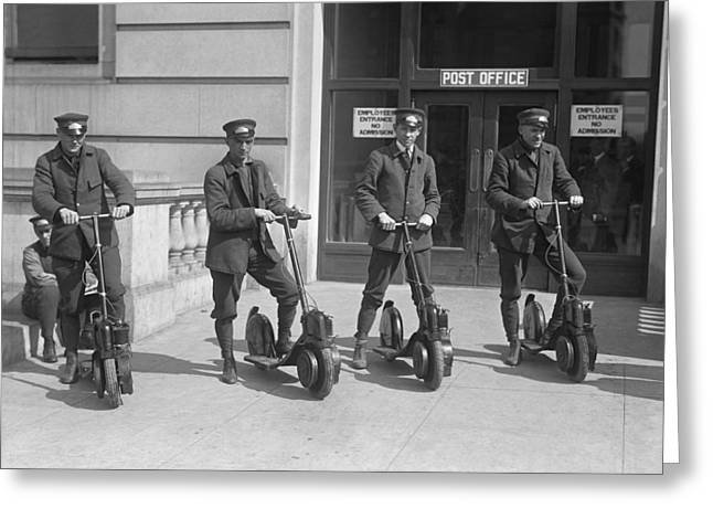 Mailmen On Scooters Greeting Card by Underwood Archives