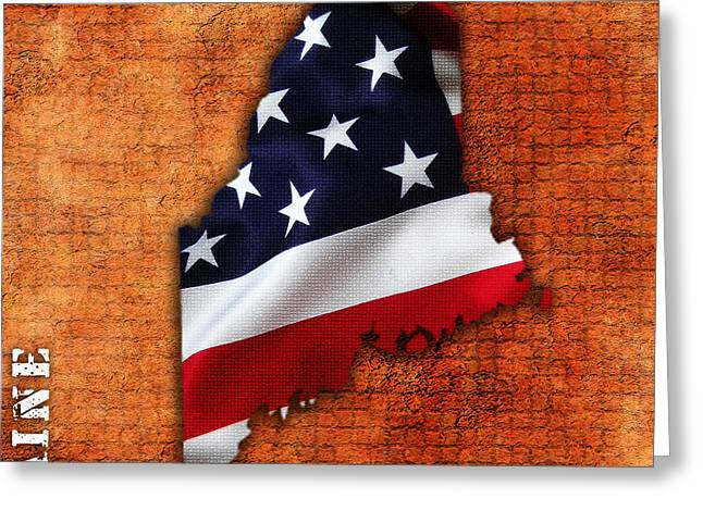 Main American Flag State Map Greeting Card