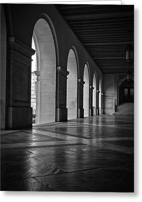 Main Building Arches University Of Texas Bw Greeting Card by Joan Carroll