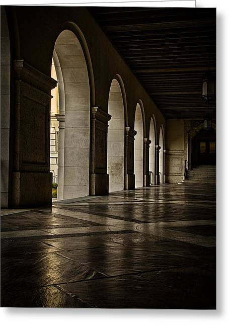 Main Building Arches University Of Texas Greeting Card by Joan Carroll