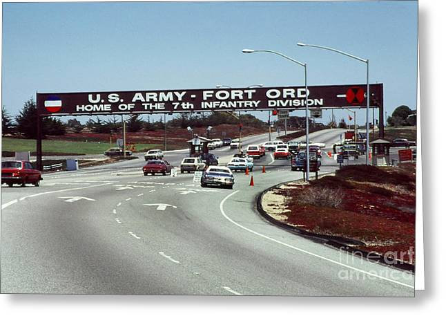 Main Gate 7th Inf. Div Fort Ord Army Base Monterey Calif. 1984 Pat Hathaway Photo Greeting Card