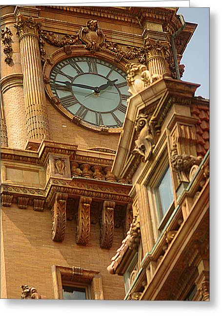 Main St Station Clock Tower Richmond Va Greeting Card by Suzanne Powers