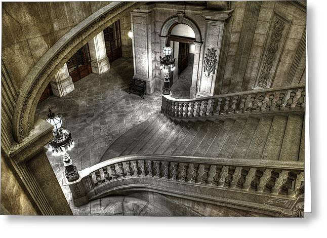 Main Staircase From Above Greeting Card