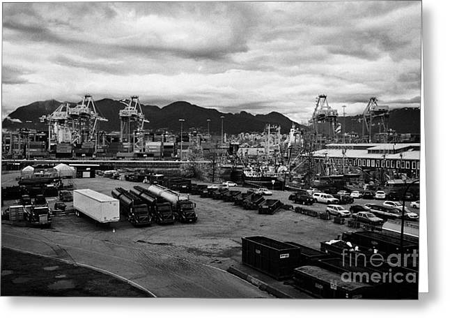 main street and port metro docks Vancouver BC Canada Greeting Card