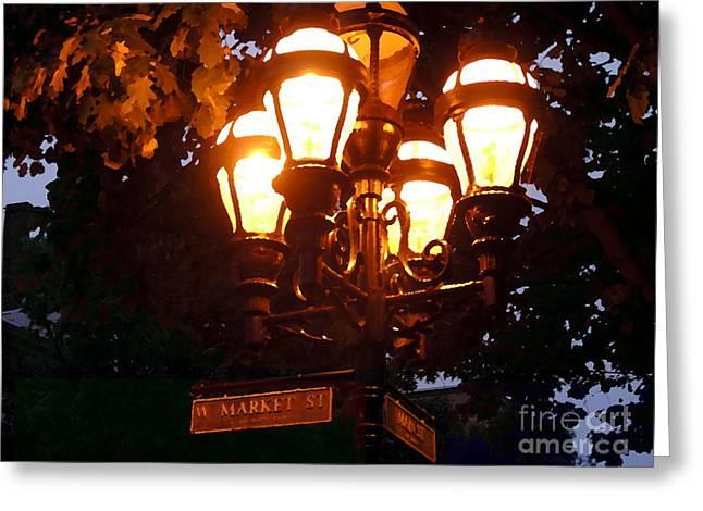 Main Street Gaslights - Abstract Greeting Card