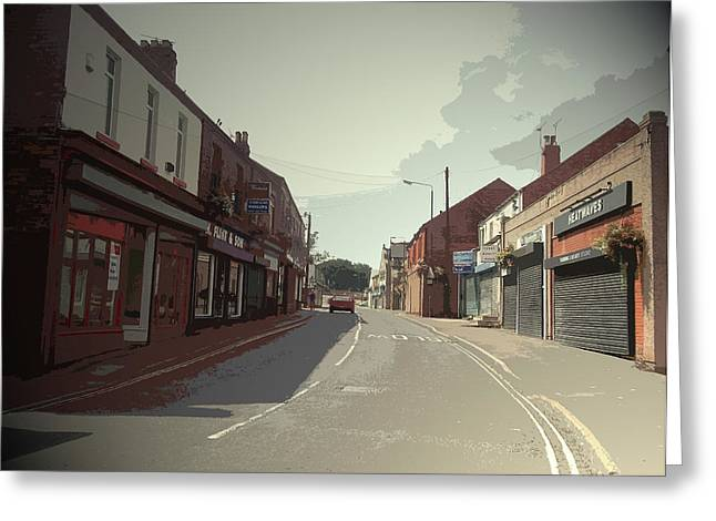 Main Street In Shirebrook, The B6407 Road Facing Greeting Card by Litz Collection