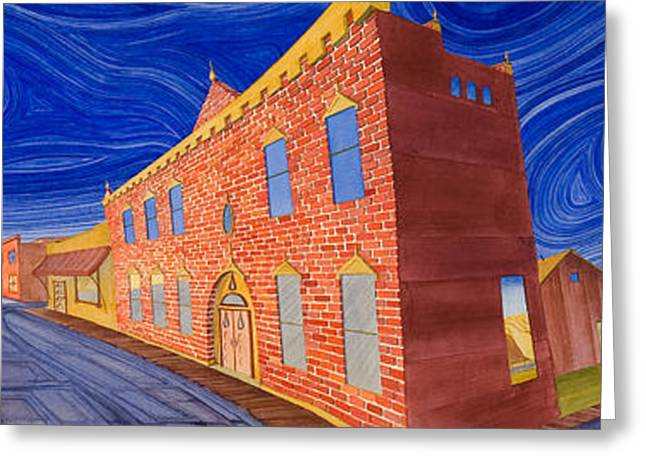 Greeting Card featuring the painting Main Street Panoramic by Scott Kirby