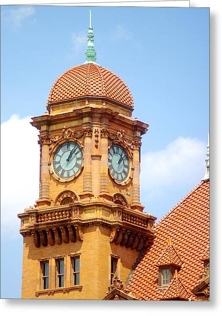 Main Street Station Clock Tower Richmond Va Greeting Card by Suzanne Powers