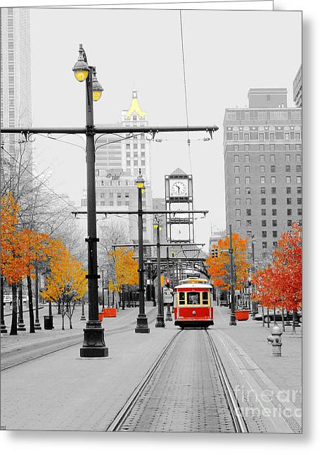 Main Street Trolley  Greeting Card