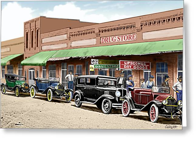 Old Main Street Grapevine Texas Greeting Card by Walt Curlee