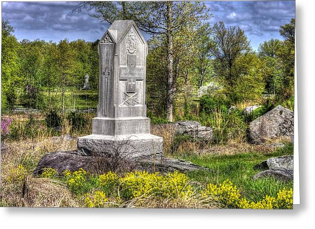 Maine At Gettysburg - 5th Maine Volunteer Infantry Regiment Just North Of Little Round Top Greeting Card by Michael Mazaika
