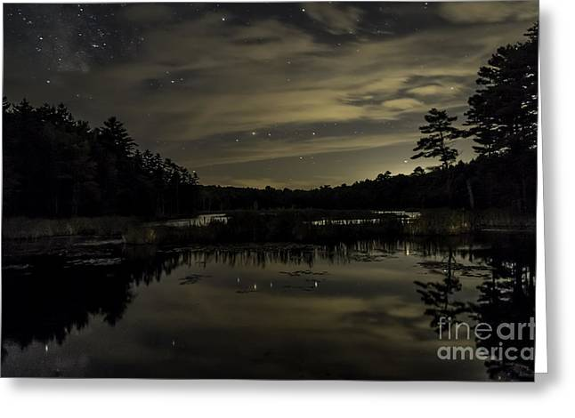 Maine Beaver Pond At Night Greeting Card by Patrick Fennell