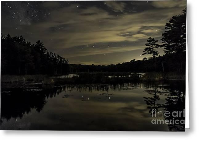 Maine Beaver Pond At Night Greeting Card