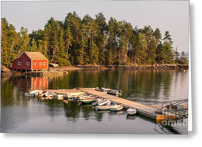 Harborside Maine Boathouse And Dock Greeting Card by Jerry Fornarotto