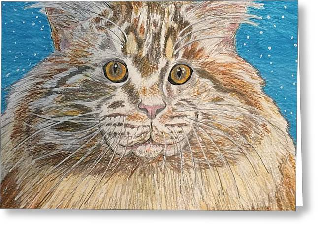 Greeting Card featuring the painting Maine Coon Cat by Kathy Marrs Chandler