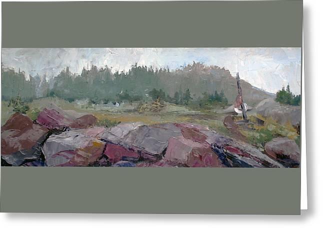 Maine Cove In Fog Greeting Card by J R Baldini