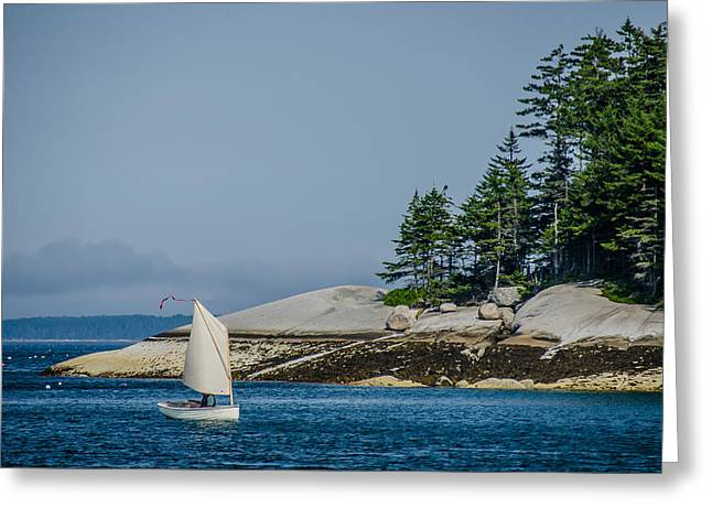 Maine Dinghy Sailing Greeting Card