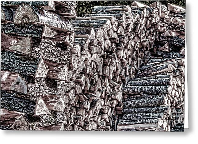 Maine Firewood Greeting Card by Patrick Fennell