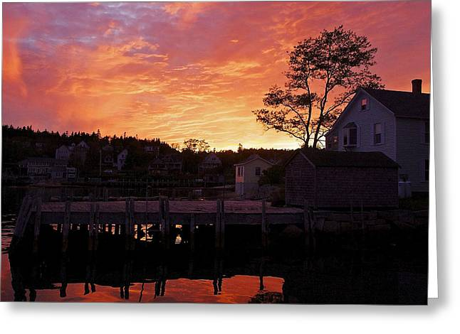 Maine Harbor Sunset Greeting Card
