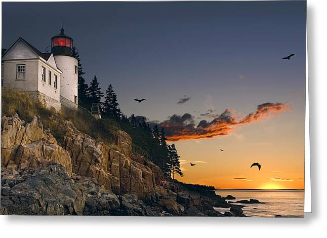 Maine Lighthouse Greeting Card by Daniel Hagerman