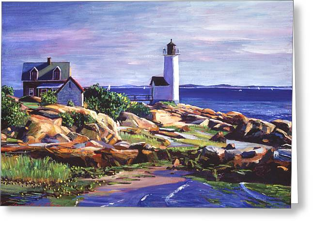 Maine Lighthouse Greeting Card by David Lloyd Glover