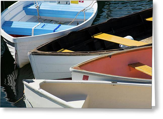 Maine, Rockland Colorful Row Boats Greeting Card