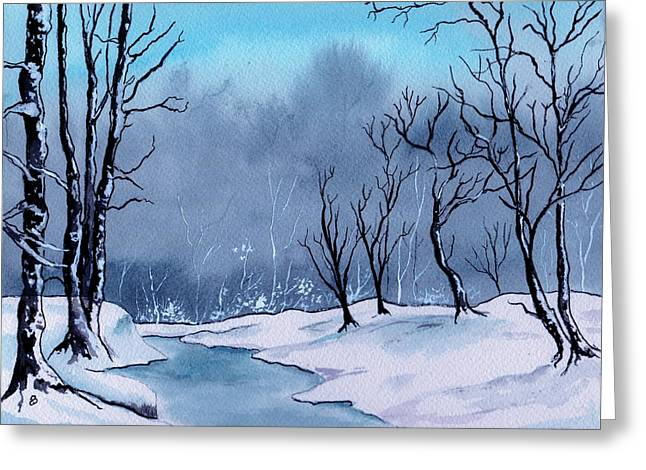 Maine Snowy Woods Greeting Card