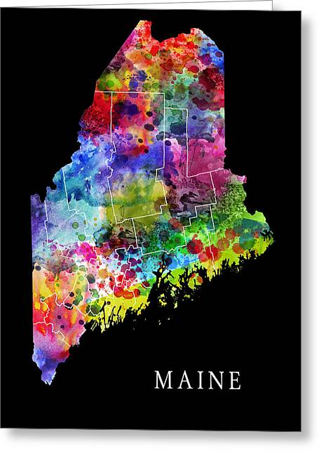 Maine State Greeting Card by Daniel Hagerman