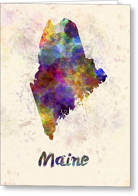 Maine Us State In Watercolor Greeting Card by Pablo Romero