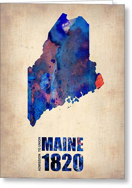Maine Watercolor Map Greeting Card by Naxart Studio