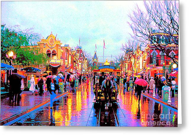 Greeting Card featuring the photograph Mainstreet Disneyland by David Lawson