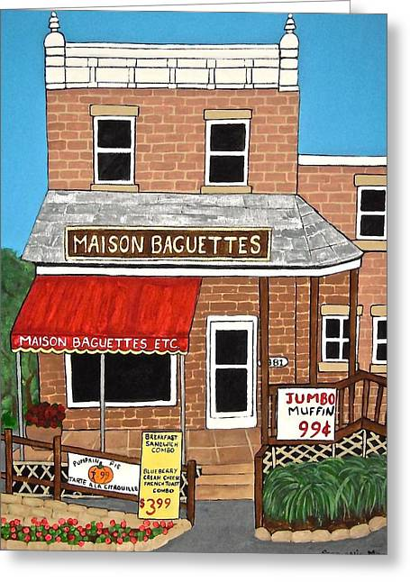 Maison Baguettes Greeting Card by Stephanie Moore
