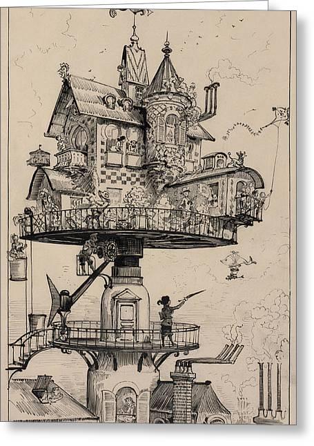 Maison Tournante Arienne 1883 Greeting Card by Daniel Hagerman
