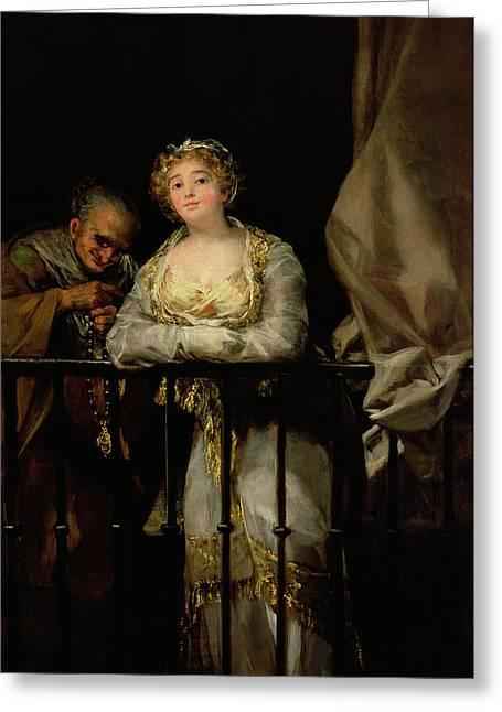 Maja And Celestina On A Balcony, 1805-12 Oil On Canvas Greeting Card by Francisco Jose de Goya y Lucientes