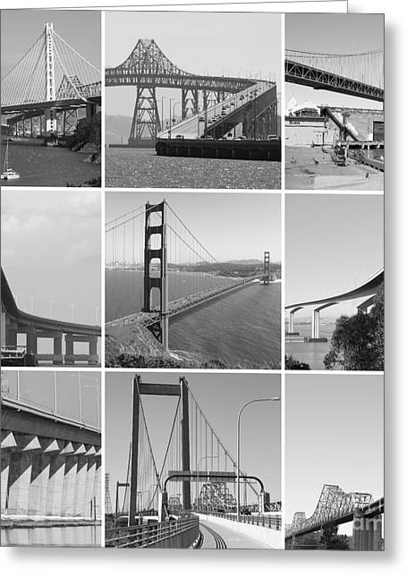 Majestic Bridges Of The San Francisco Bay Area Black And White 20140828 Greeting Card by Wingsdomain Art and Photography